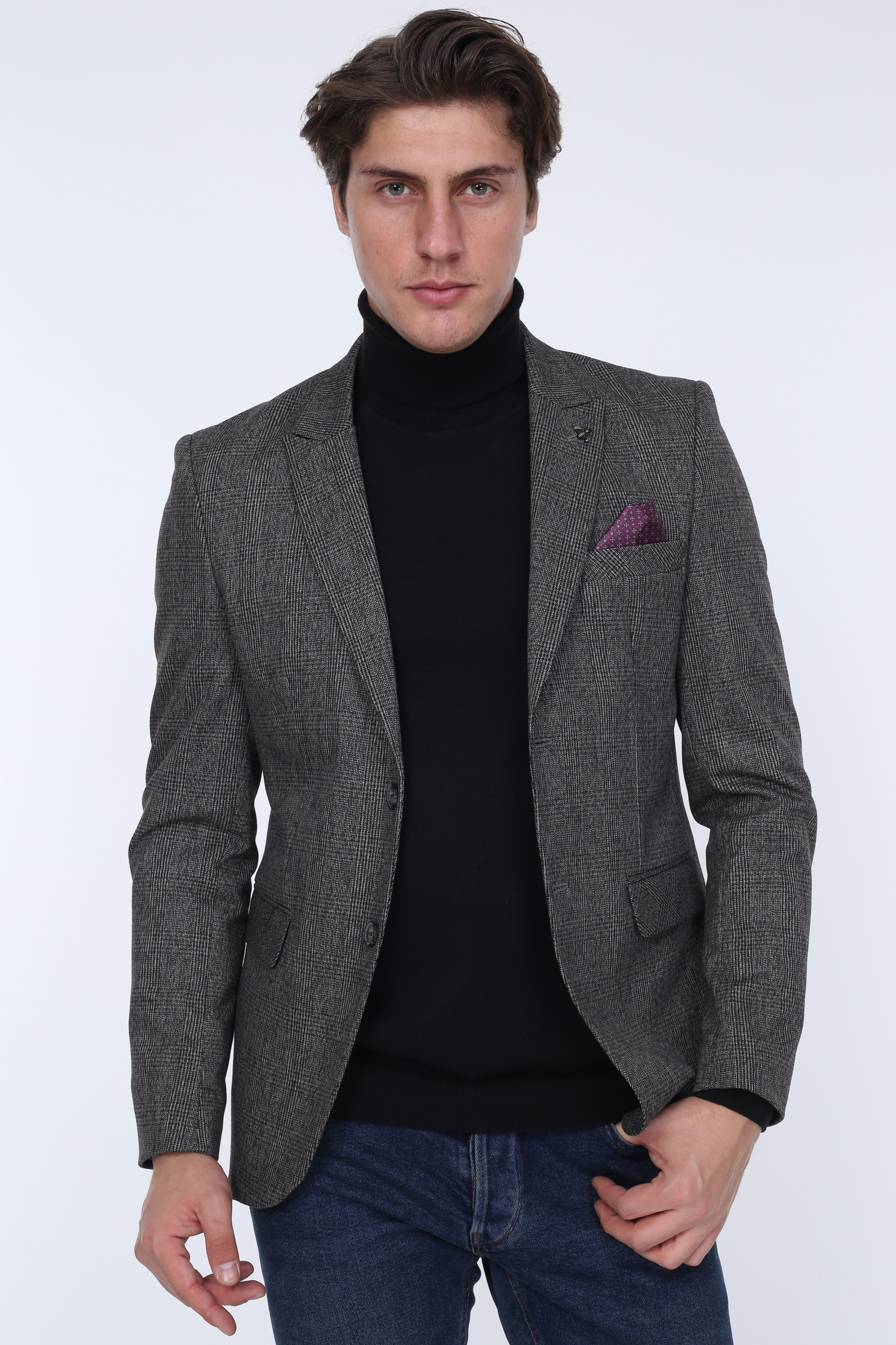 MENS BLAZER JACKET Slim-Fit Made-In-Turkey for European-Size 01231-ANTHRACITE St. 01231-ANTHRACITE title=