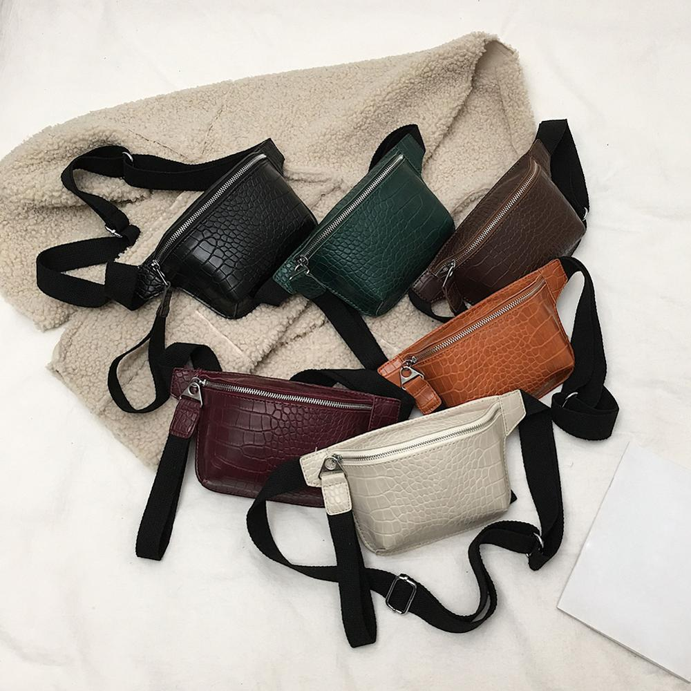 Women Alligator Pattern Waist Fanny Belt Packs Leather Chest Bags Multicolor Messenger Chest Bag Clutch Bolsas Feminina