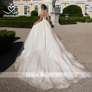 Image 2 - Sweetheart Beaded Princess Wedding Dress Off Shoulder Appliques Lace A Line SWANSKIRT I182 Bridal Gown Illusion Vestido de noiva