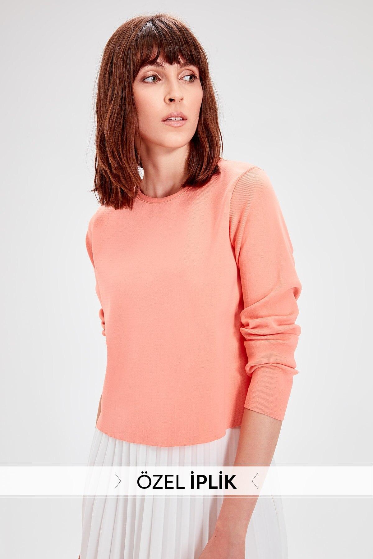 Trendyol Salmon Nylon Bike Collar Sweater Sweater TWOAW20FV0187