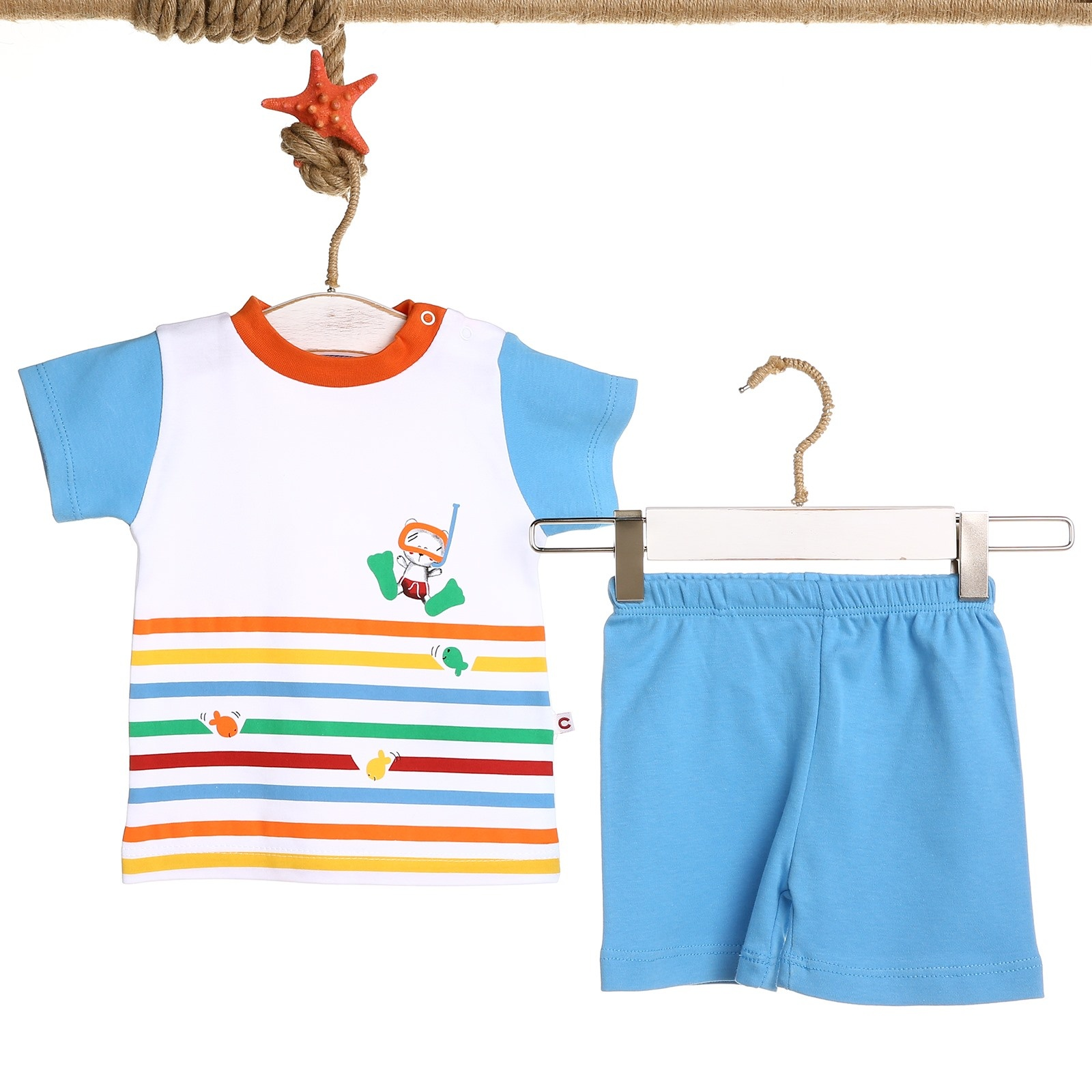 Ebebek Carmin Baby Boy Colored Printed Tshirt Short