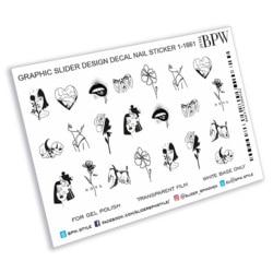 Slider design Mix Diagramm 1, BPW. stil, wasser nagel aufkleber, sd1-1661