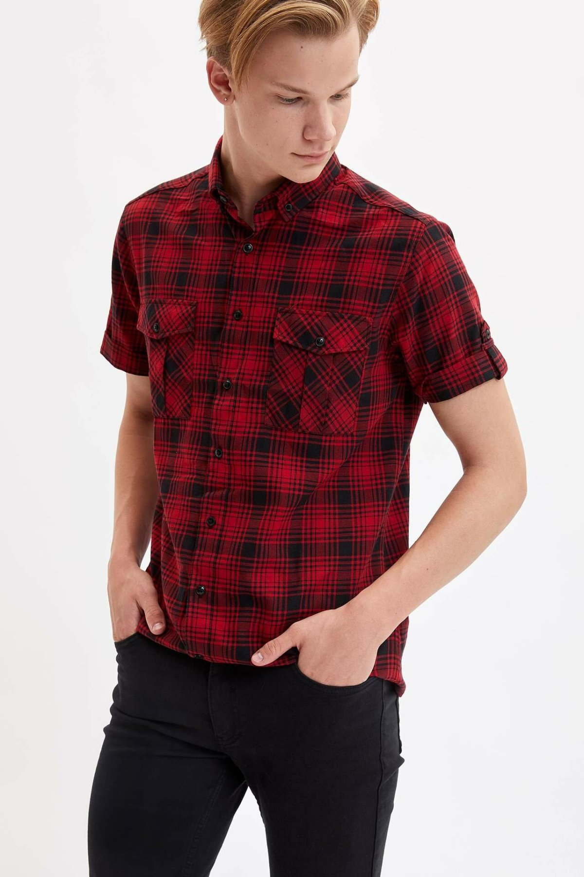 DeFacto Men Casual Plaid Lapel Collar Shirts Short Sleeve Simple Shirts Men Shirt Tops- K3894AZ19SM
