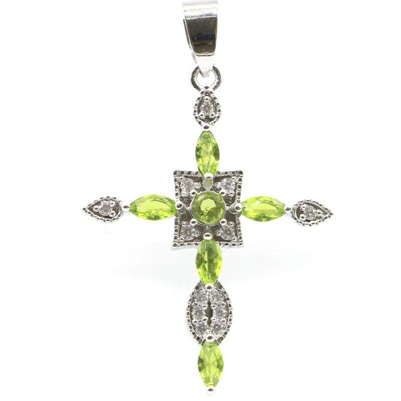 46x29mm Classic Long Cross Created Green Peridot Kunzite Iolite White CZ Gift For Sister Silver Pendant