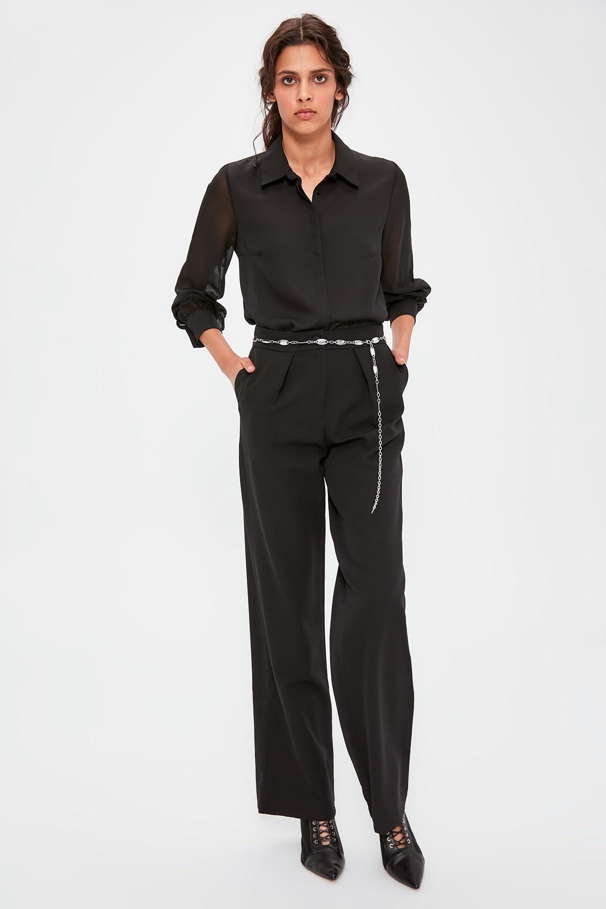 Trendyol Black Flare Pants TWOAW20PL0357