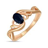 Gold ring C grown sapphire, 585 tests, Moscow Jewelry Factory