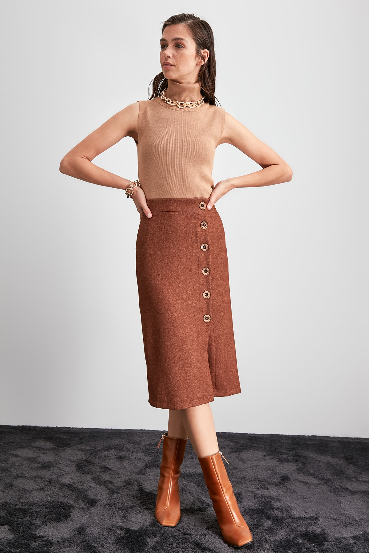 Trendyol Button Detail Skirt TWOAW20ET0573