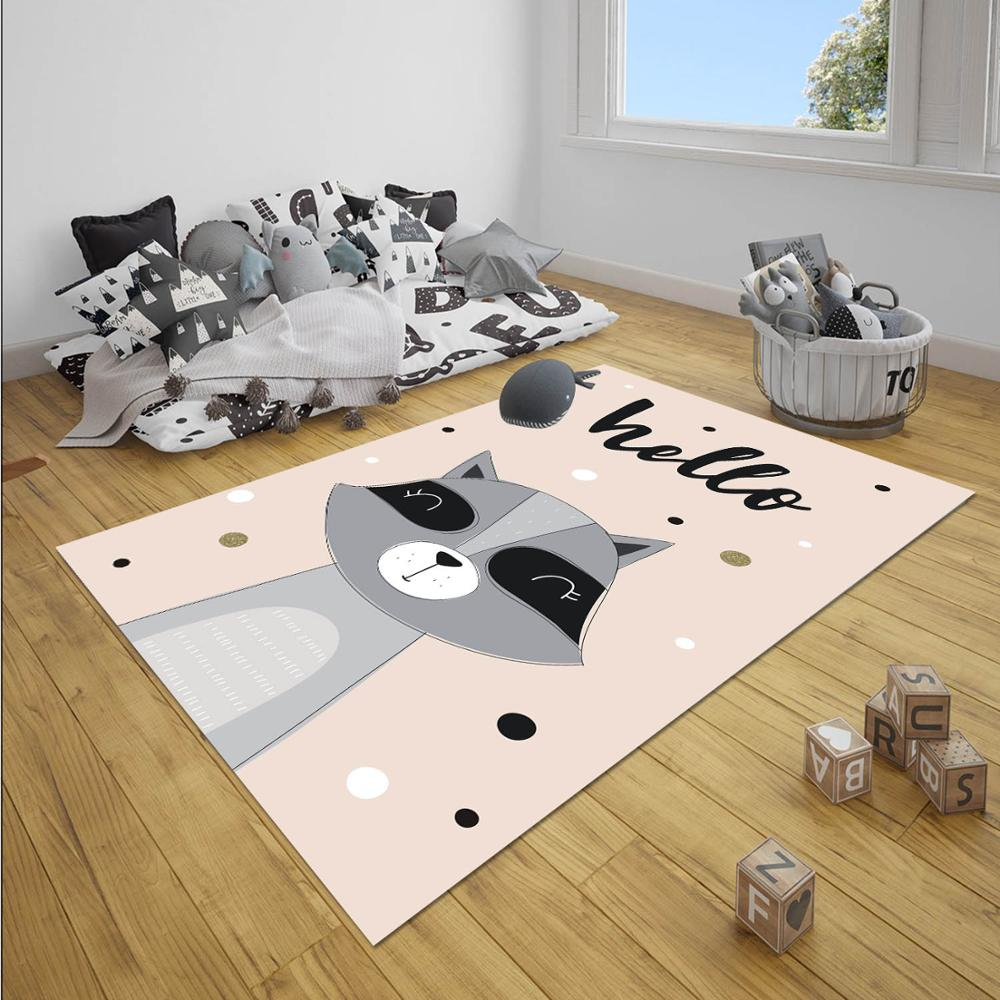Else Pink Gray Dot Raccoon Animal Girl Nordec Girls 3d Print Non Slip Microfiber Children Baby Kids Room Decorative Area Rug Mat