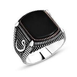 خاتم رجالي من الفضة الإسترليني Woah مفصل من حجر الأونيكس لعام 925