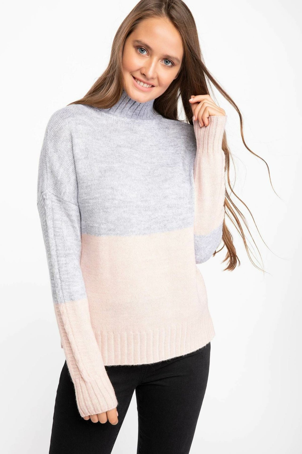 DeFacto Woman Simple Turtleneck Pullovers Casual Long Sleeves Pullovers Loose Women Autumn New -J0417AZ18WN