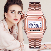 Retro Women Watch Fashion Couple Clock Stainless Steel LED Sports Military Wristwatches Electronic Digital Watches Present sponge watches box case display storage watch silver classic men women retro stainless steel lcd digital sports stopwatch