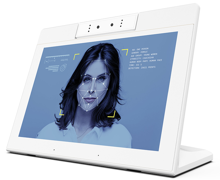 10 Inch Android Smart Facial Recognition Display (Android6.0 Or 8.1, Binocular Camera, Dual Speakers, Dual Mic, Wifi, RJ45, BT)