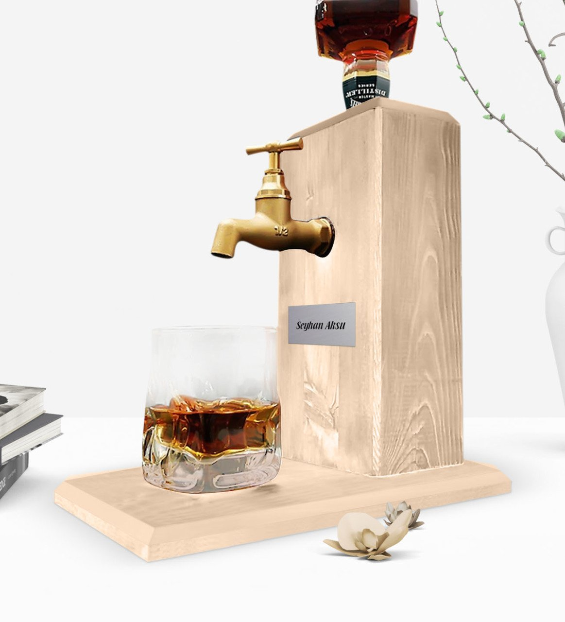 Personalized Tap Natural Wood Whisky Stand-Wood