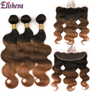 Image 4 - Elisheva Ombre Bundles with Frontal 1b 4 30 bundles with closure Body Wave Remy Brazilian Hair Weave Bundles With Closure 150