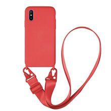 Funda silicona suave Samsung Galaxy A71 4G + Cordón ancho Rojo - Gel Tpu Cuerda colgar