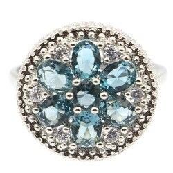 18x18 мм SheCrown прекрасные круглые серебряные кольца для женщин с лондонским голубым топазом ярким цирконием для свидания повседневная одежда