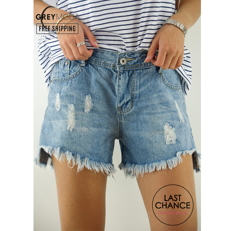 GREYMODA Jean Shorts Denim Shorts Women High Waits Shorts Hollow Denim Shorts Spring Summer 2020 Made In Italy
