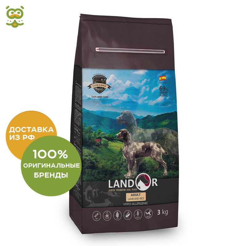 Landor Adult Dog dry food for adult dogs of all breeds, Lamb and rice, 3 kg. dog food dog chow mature for dogs of all breeds aged 5 9 years lamb and rice 2 5 kg