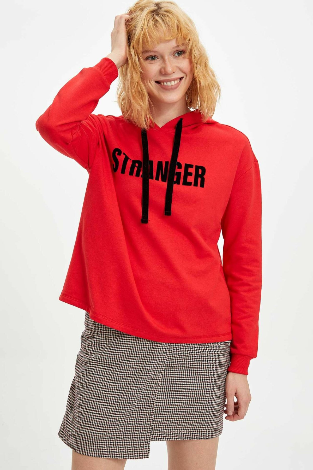 DeFacto Women's Fashion Letter Pattern Hoodies Casual Red Loose Pullovers Sportshirt Autumn Female Tops - M4015AZ19WN
