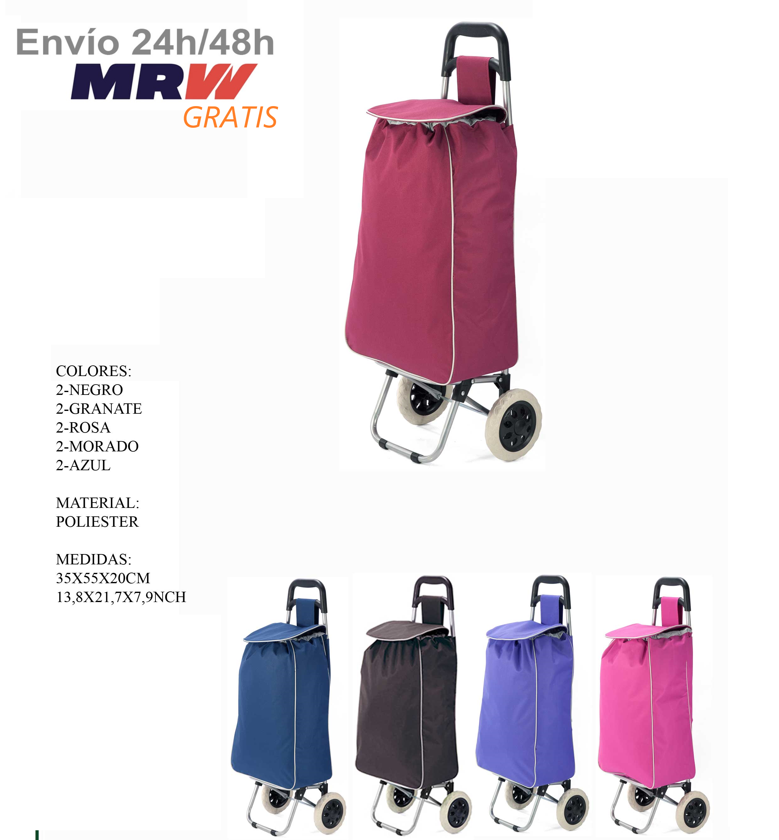 Market for polyester <font><b>folding</b></font> <font><b>shopping</b></font> trolley cart with <font><b>wheels</b></font> lightweight and foldable, material hidrofobo dry rapido image