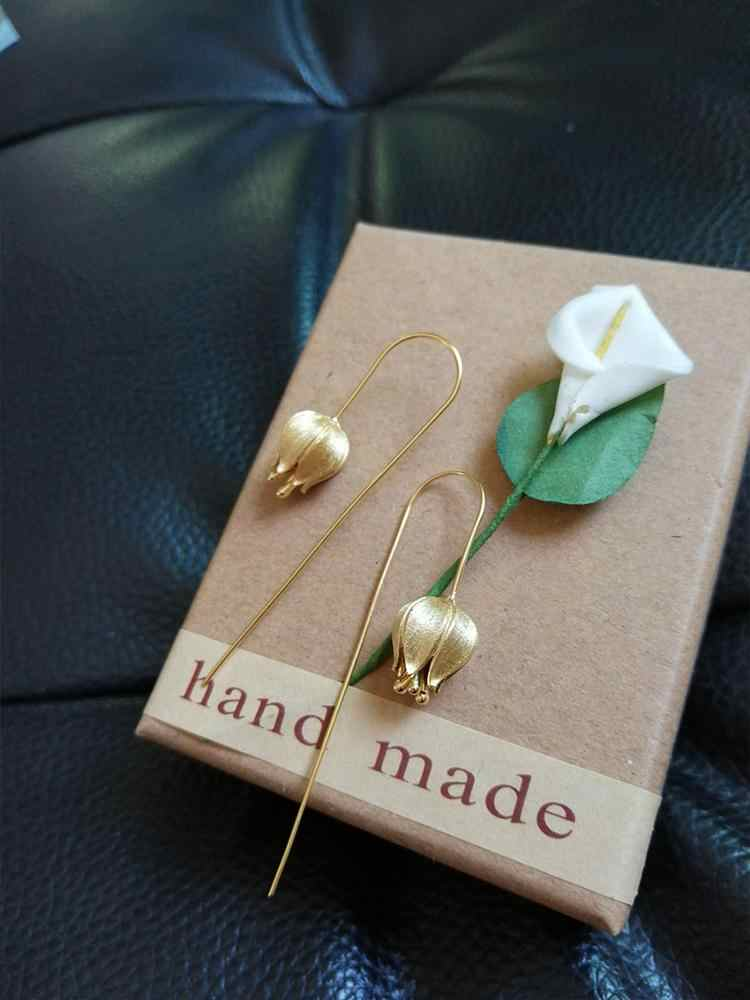 Где купить Женские серьги-подвески в виде цветка тюльпана Lotus Fun, Настоящее серебро 925 пробы, ювелирные украшения ручной работы