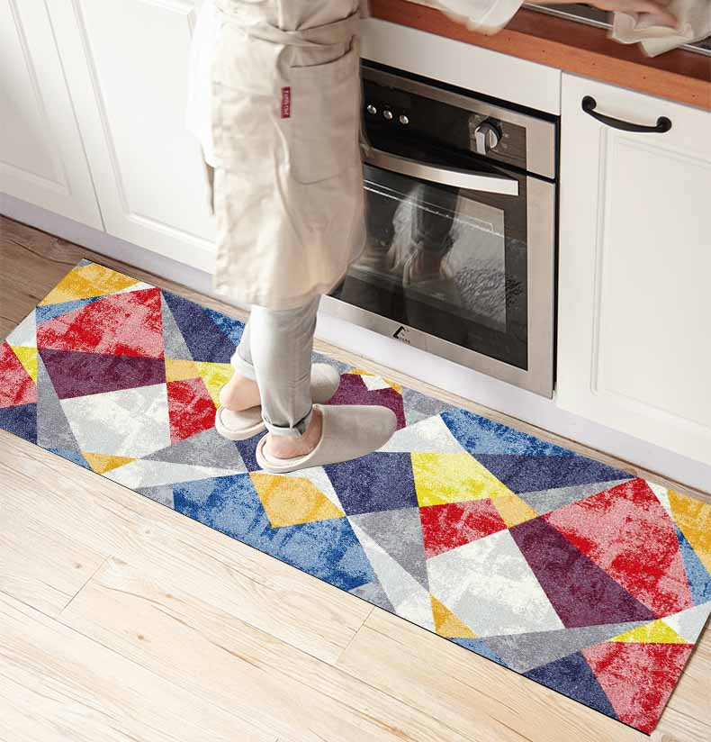 Else Red Blue White Patchwork Vintage 3d Print Non Slip Microfiber Kitchen Counter Modern Decorative Washable Area Rug Mat