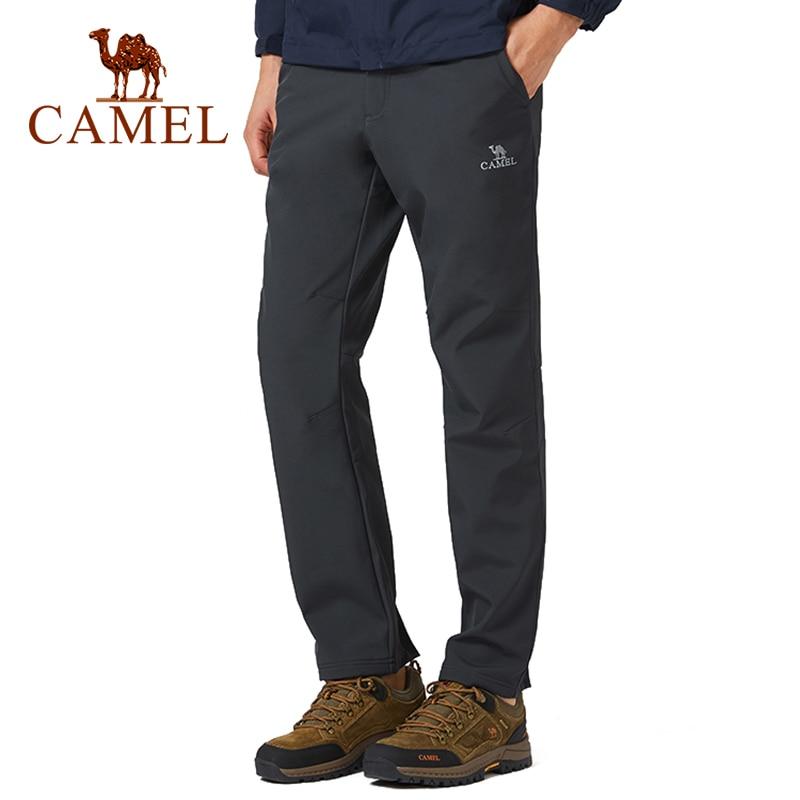 CAMEL Winter Women Men Outdoor Hiking Pants Waterproof Windproof Warm Fleece Inner Softshell Trousers Tactical Trekking Pants
