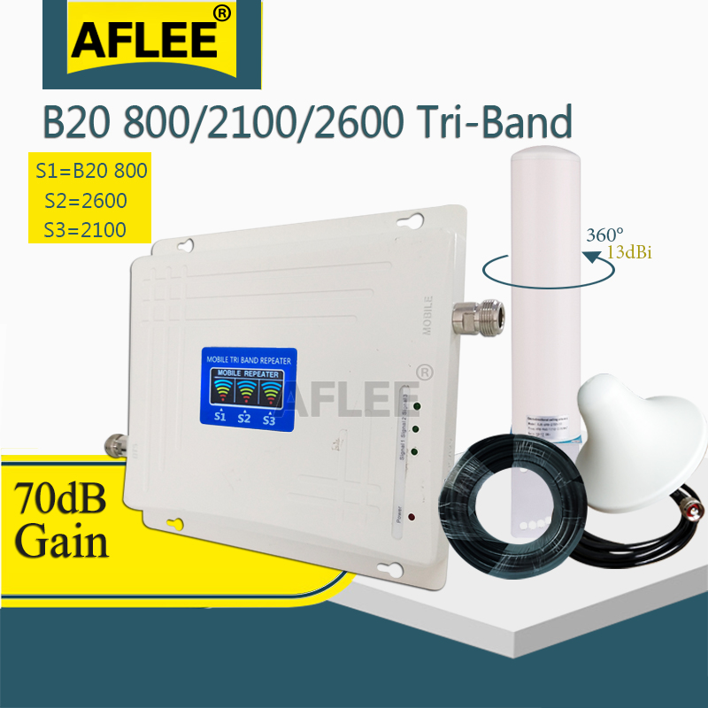 LTE B20 800 2100 2600 Mhz Cell Phone 4G Booster Tri-Band Mobile Signal Amplifier 2G 3G 4G Cellular Repeater LTE WCDMA LTE Set