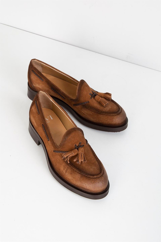 ILVi-Genuine Leather Handmade Major Men's Moccasin Saddle Brown Split Men Shoes
