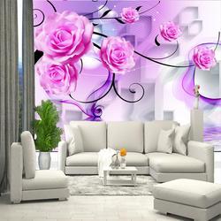 Papier peint stéréoscopique fleurs roses. Peinture murale 3D dans la chambre, le Hall, dans la maison.