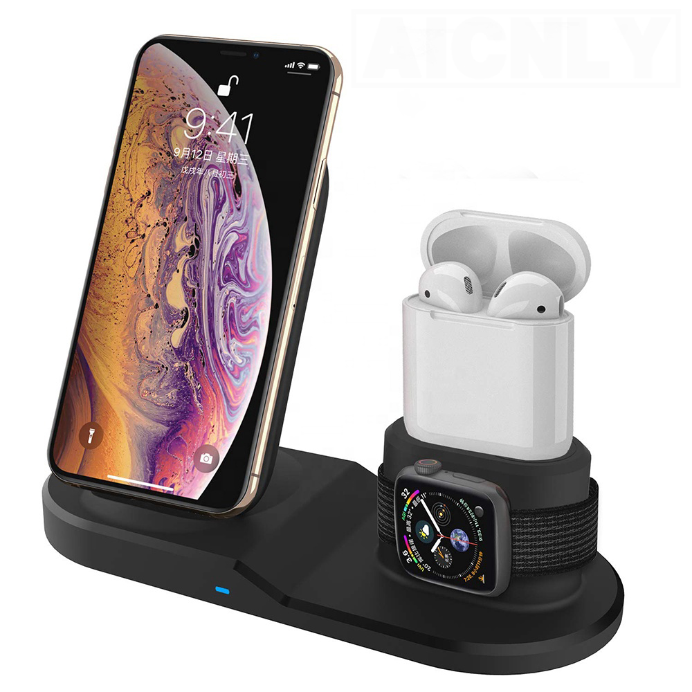 10W 3 in 1 Fast Wireless Charger Dock Station Fast Charging For iPhone 11 11 Pro XR XS Max 8 for Iwatch 2 3 4 5 Quick Charge(China)
