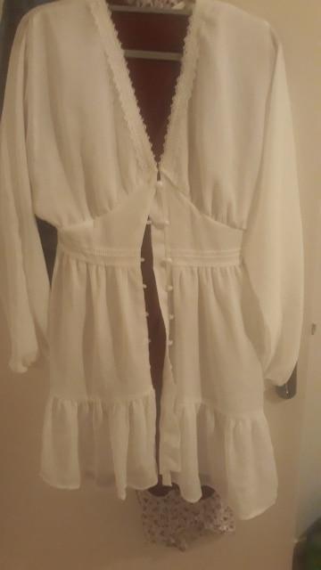 DICLOUD Sexy Plunge V Neck Women's Summer Dress White Lace Long Sleeve Mini Wedding Party Dress Ruffle Elegant Clothes 2021|Dresses|   - AliExpress