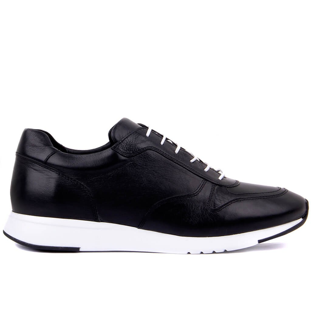 Sail-Lakers Black Leather Lace-Up Men Sneakers Casual Sports Shoes Tenis Masculino