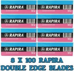 Лезвия для бритвы Rapira с двойными краями, 8 упаковок/800 шт.