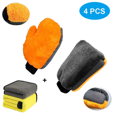 4 pçs ultra grande luva de lavagem de carro luva de lavagem de microfibra macio velo coral anti risco com limpeza de carro toalha lavagem de carro acessórios