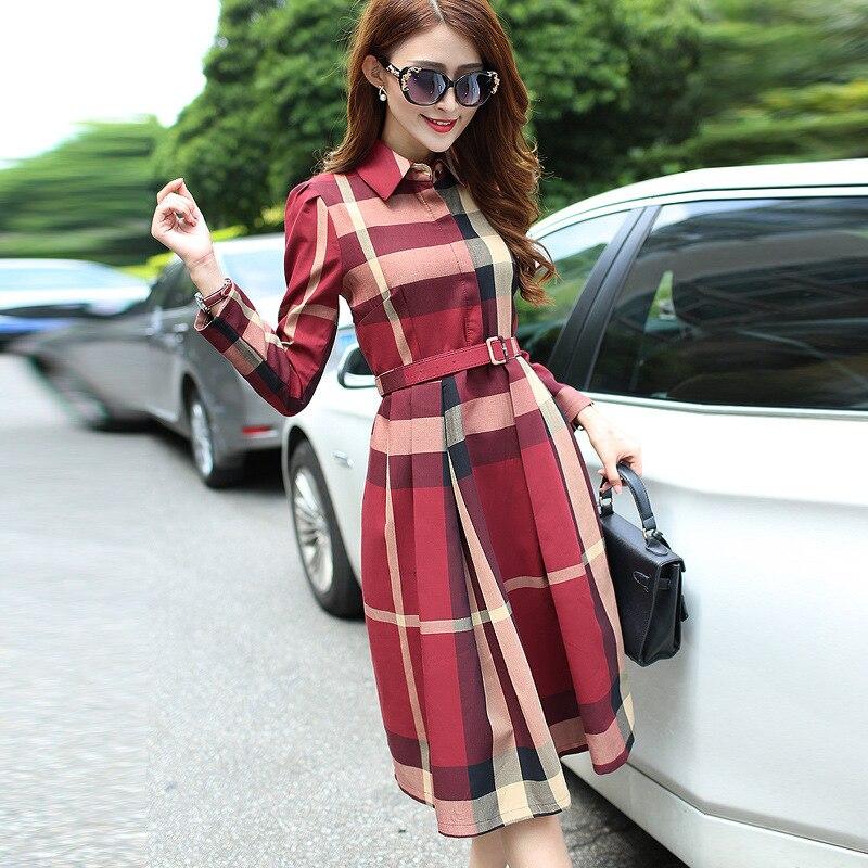 Women Fashion Elegant A-Line Dresses Female Full Sleeve Street Sweet Midi Dress Vestidos 6