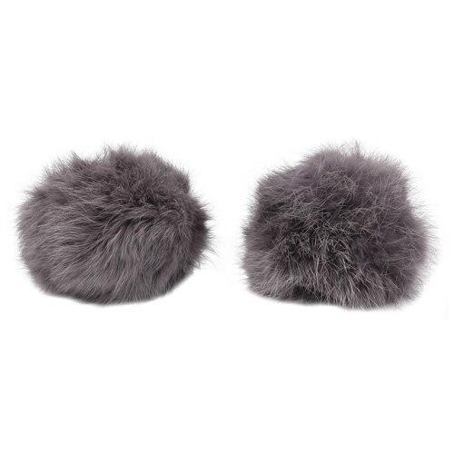 Pompon Made Of Natural Fur (rabbit), D-8cm, 2 Pcs/pack (H. Gray)