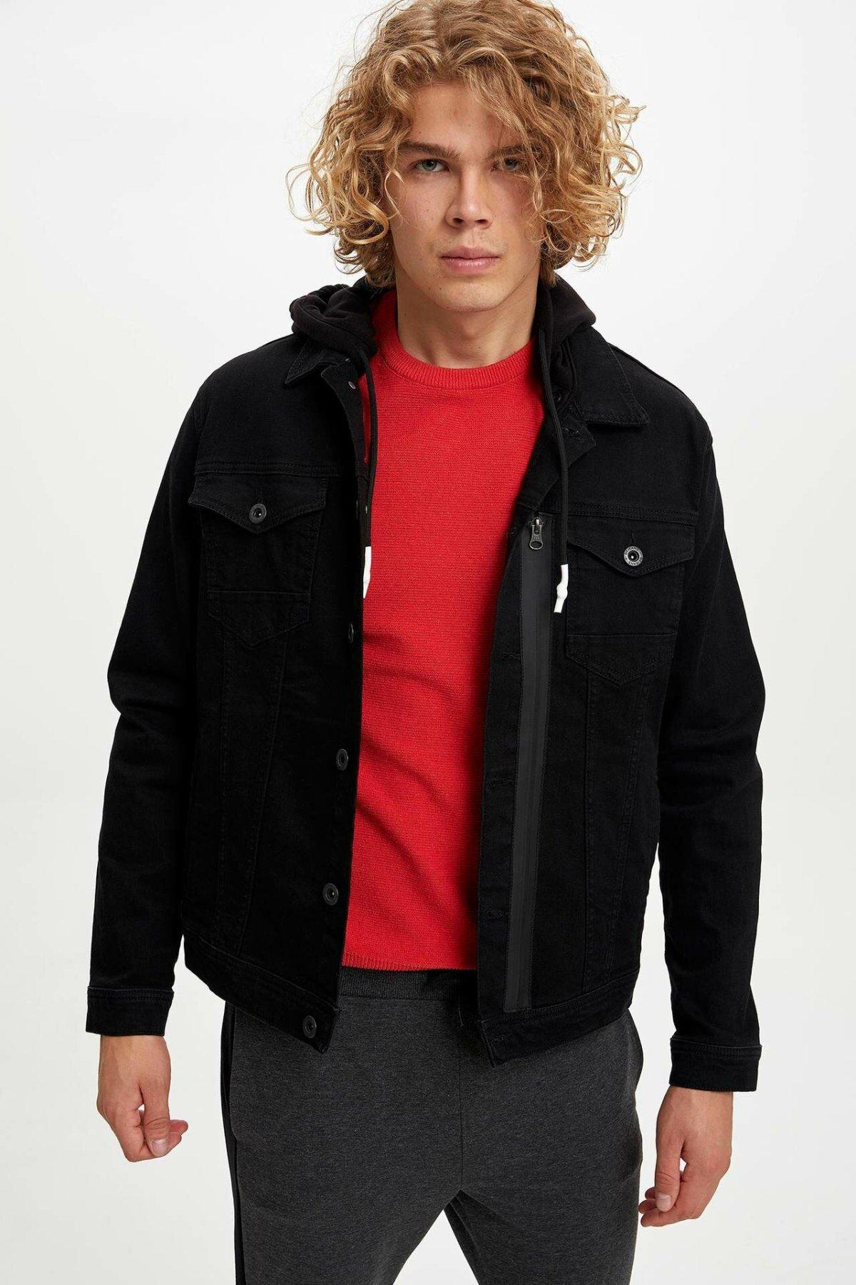 DeFacto Autumn Fashion Black Lapel Jean Jackets Male High Quality Denim Simple Loose Leisure Pockets Coats Men -L5446AZ19AU