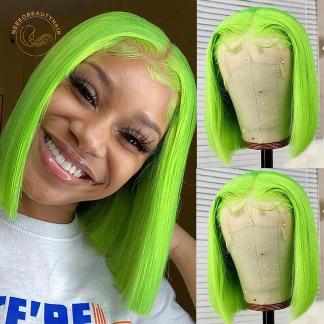 Red Bob Lace Front Human Hair Wigs 13X4 Blonde Pink Blue Grey Green Orange Ginger Colored Short Bob Lace Frontal Wig Closure Wig 3