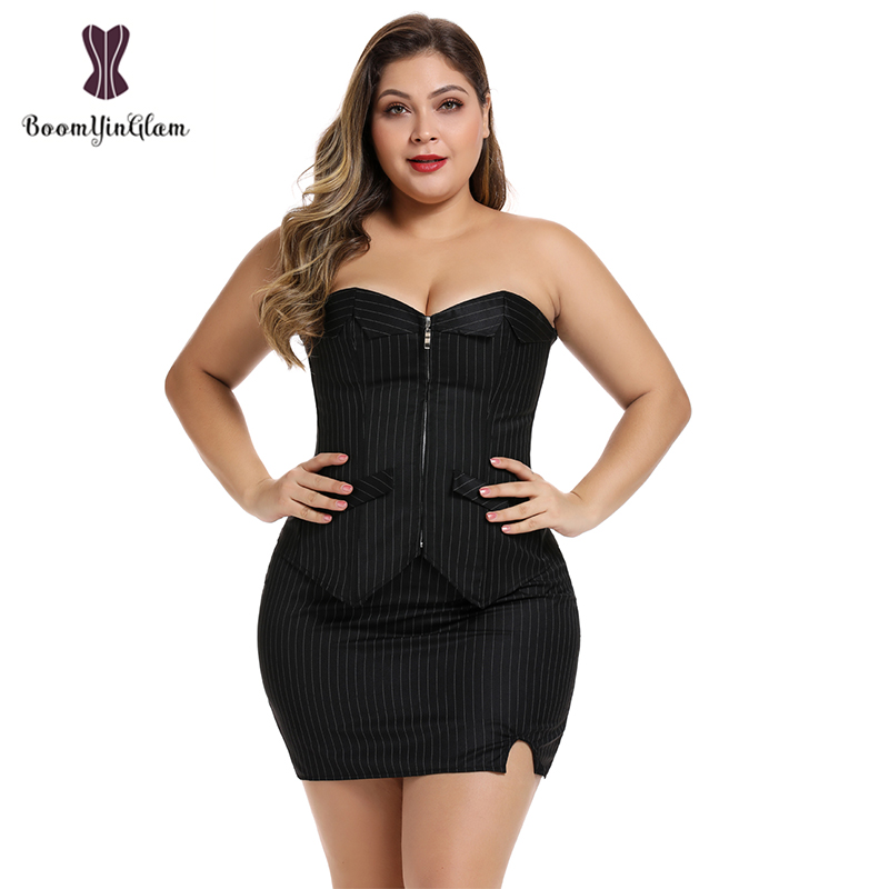 Office Style Women Basques Bustier Stripes Overbust Corsets Top With Skirt Lace Up Boned Corset Dress Plus Size 801