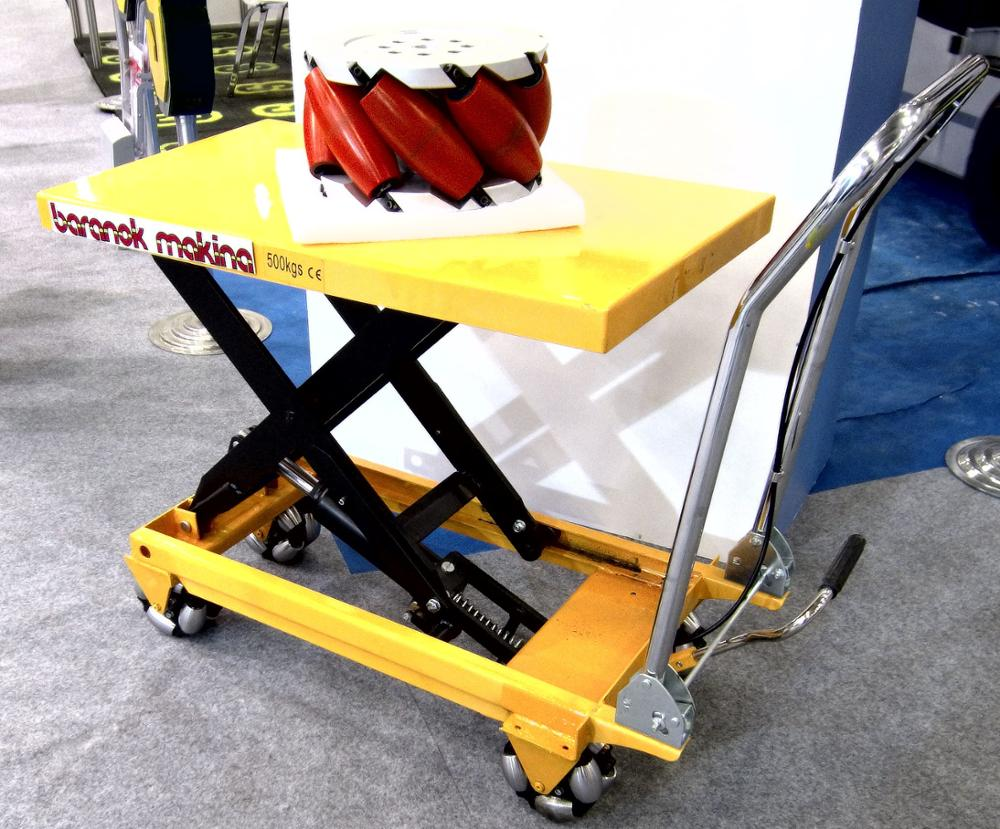 Scissor Load Handling Platform OMNI WHEELED MANUAL LIFTING TABLE HEAVY LOAD OMNI DIRECTIONAL MOBILE PLATFORM OMNI WHEEL DOLLY