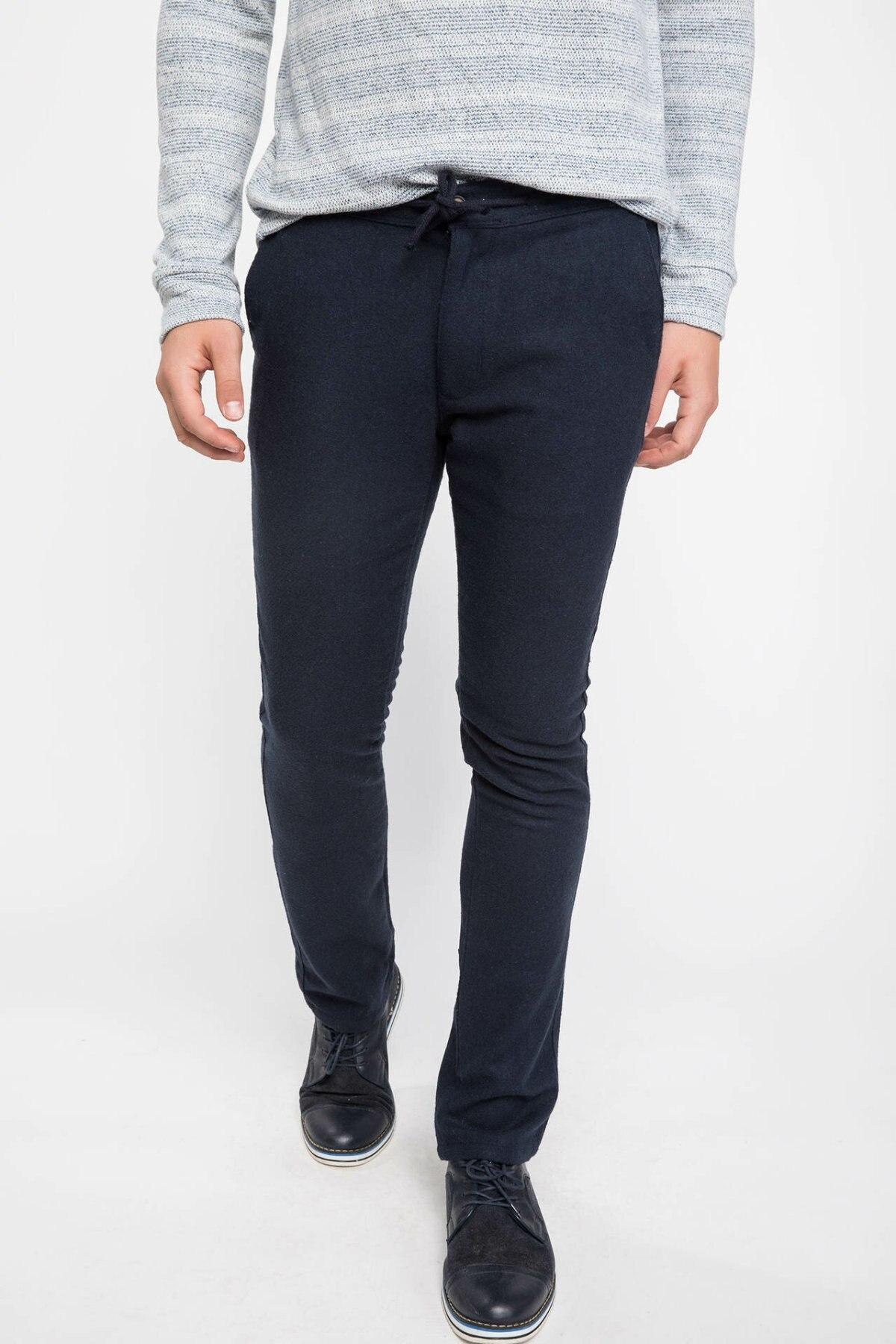 DeFacto Men's Solid Slim Casual Trousers Male Classic Style Stright Pant Cotton High Quality Fashion Pants Men - J2833AZ18AU