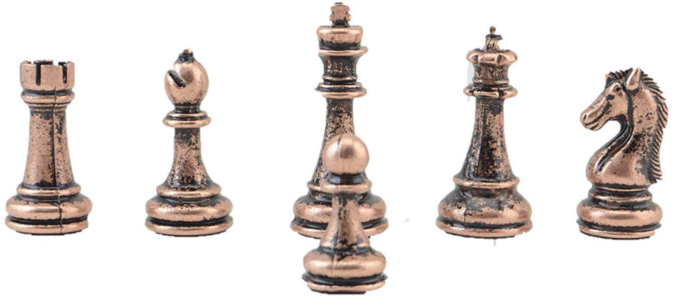 Classic Antique Copper Handmade Chess Pieces King 7.5 Cm (Only 32 Pieces, Without Board)