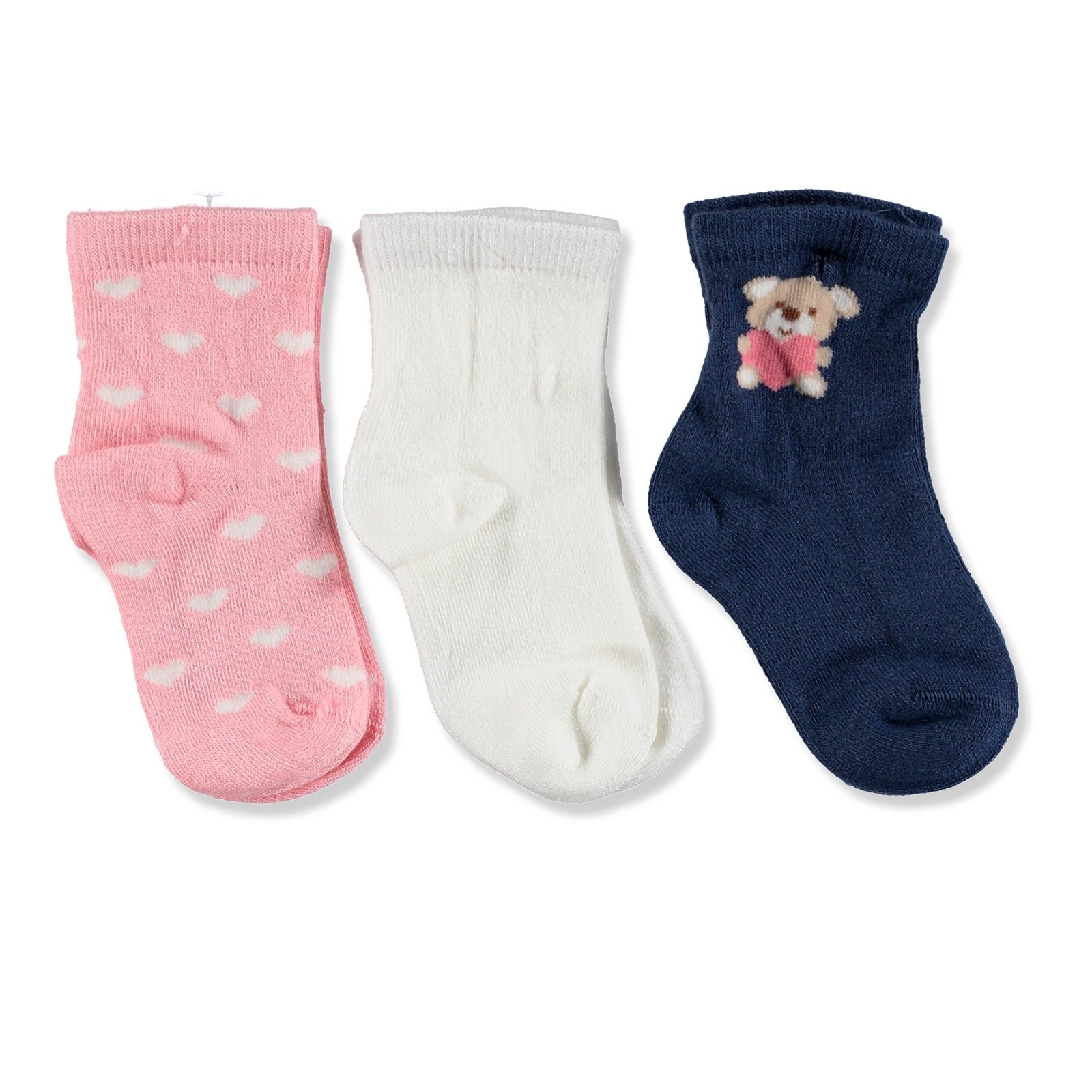 Ebebek Petit Minou 3 Pack Baby Socks Hearted Teddy Bear