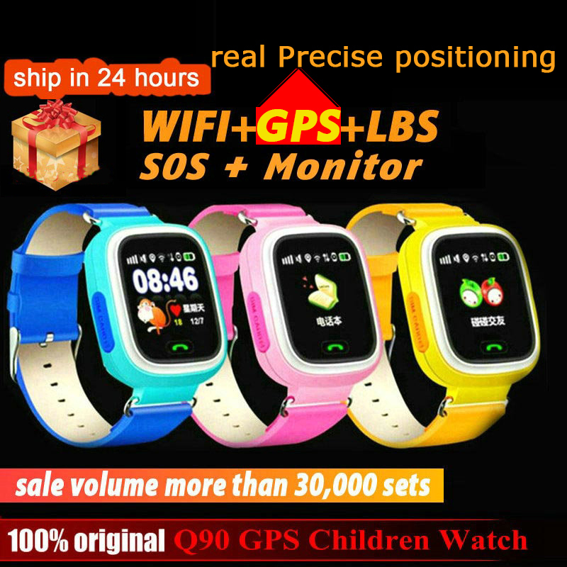 Q90 GPS Children kids Smart Watch Phone Position for Children Watch 1.22 inch Color Touch Screen WIFI SOS Smart Baby Watch