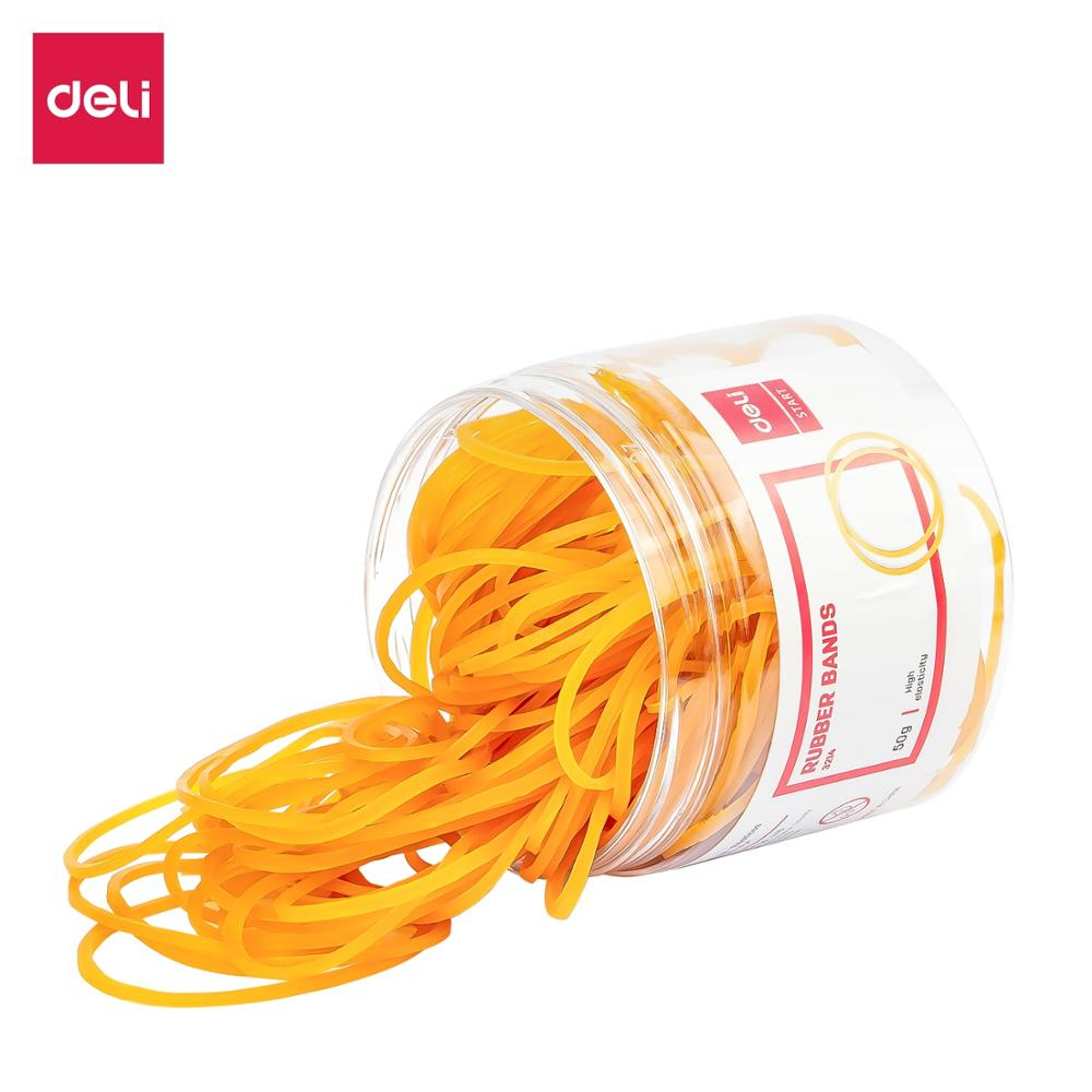 DELI E3214 Yellow Elastic Rubber Band 50gram/Tube(160PCS) Bank Paper Bill Loop Stretchable Ring Bands Home Office Supplies