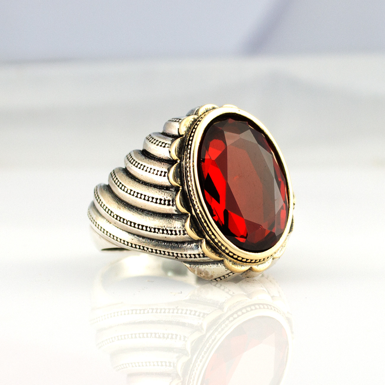 925 Sterling Silver Ring For Men Red Zircon Stone Aqeq Onyx Stone Jewelry Fashion Vintage Gift Rings All Size Made In Turkey