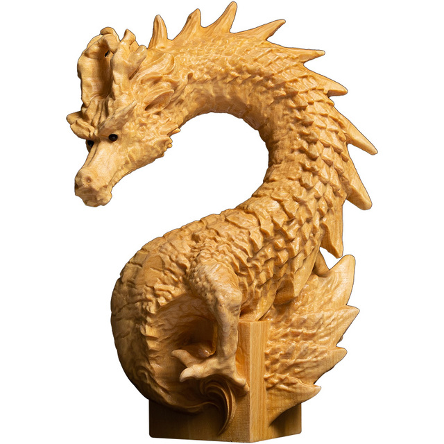 Chinese Dragon Seal Statue Boxwood Animal Sculpture Office Name Seal Private Chapter LOGO Home Decoration