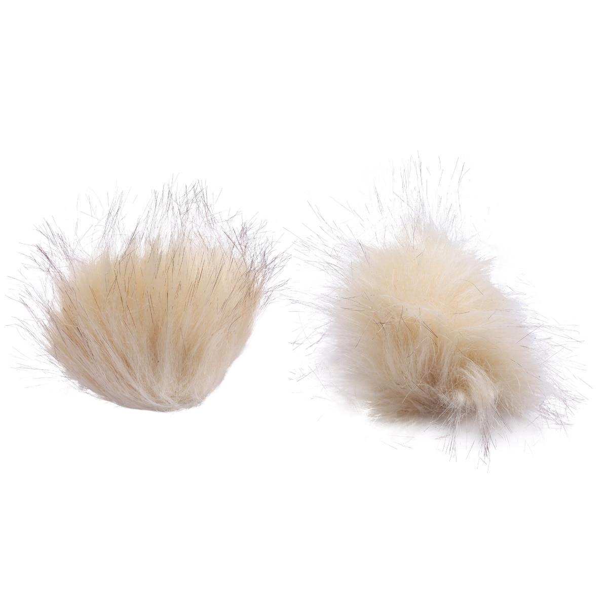 Pompoms Made Of Artificial Fur (Fox), D-8cm, 2 Pcs/pack (beige)
