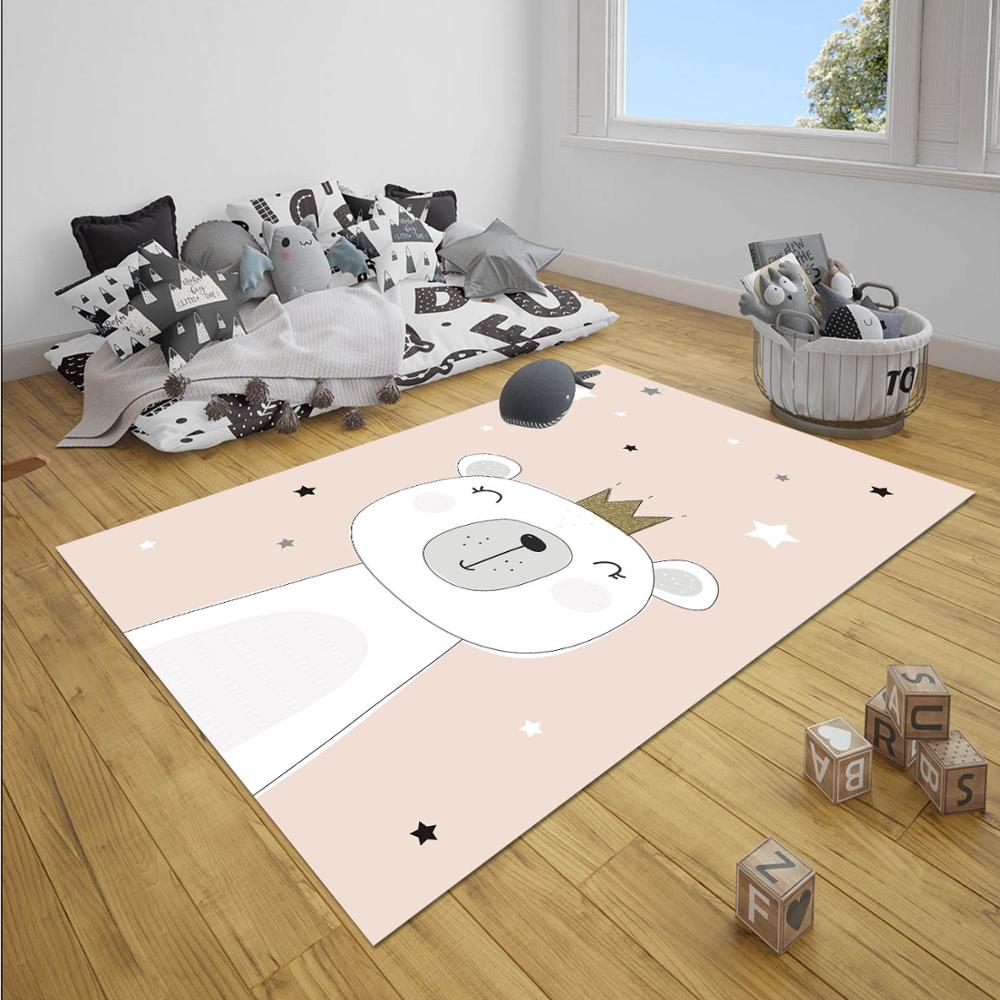 Else Pink Princess Bears Stars Girl Nordec Girls 3d Print Non Slip Microfiber Children Baby Kids Room Decorative Area Rug Mat